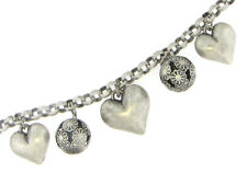 Heart Charm Bracelet - Antiqued Silver Plated Puffy - Dangle Stoneless
