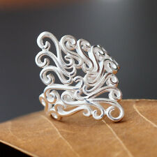 Women Fashion Silver Plated Hollow Flower Vine Finger Ring Gift Jewelry Latest