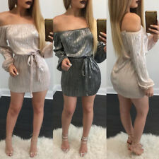 Sexy Womens Sequin Off Shoulder Party Evening Cocktail Clubwear Short Mini Dress