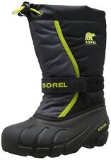 Sorel Youth Flurry TP Winter Snow Boots Black/Chartreuse