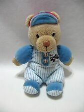 "Carter's Teddy Bear Little Rookie Rattle Plush Blue White Red Baseball 9"" Cute"