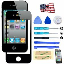 Black Front Screen Glass Lens Replacement Repair Kit Sticker for iPhone 4 4S
