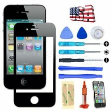 Black Front Screen Glass Lens Replacement Repair Kit & UV Glue  for iPhone 4/4S