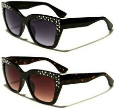 NEW VG BLACK SUNGLASSES LADIES WOMENS DESIGNER CAT EYE RETRO VINTAGE DIAMANTE