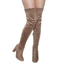 Women's Block Heel Drawstring Over The Knee Thigh High Stretchy Boot