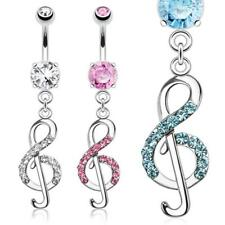 AF Surgical steel Belly button piercing silver Treble clef with zirconia