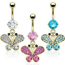AF Surgical steel Belly button piercing 14 carat gold-plated Butterfly with