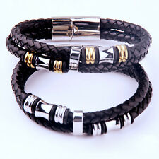 Hi-Q COOL Bracelet Stainless Steel Mens Braided Leather Bracelet Bangle Rope