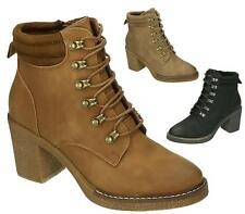 NEW WOMENS LADIES HEEL ARMY COMBAT AVIATOR MILITARY ANKLE BOOTS SIZE