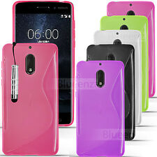 For Nokia 6 / Nokia 5  - S-Line Gel Case Cover Wave Back + Screen Protector