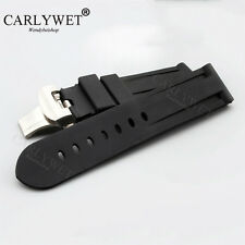 24mm Rubber Waterproof Wrist Watch Band Silver Clasp for PAM 44mm-47mm LUMINOR