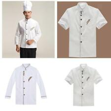 MagiDeal Chef Clothing Jacket Coat Catering Cook Uniform Long/Short Sleeves