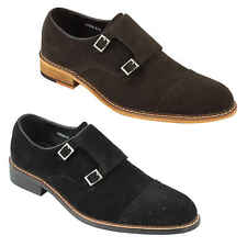 Mens Black Brown Real Suede Leather Double Monk Strap Retro MODLoafers Shoes