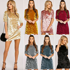 Fashion Women's Crushed Velvet T-Shirt Long Tops Casual Loose Blouse Mini Dress