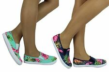 WOMENS FLAT PLIMSOLLS SNEAKERS PUMPS GIRLS SLIP ON TRAINERS DECK SHOES SIZE