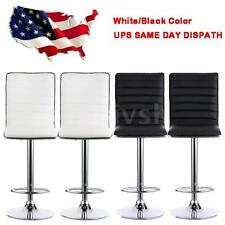 2PCS PU Leather Bar Stools Height Adjustable Counter Pub Chair Barstools V3W2