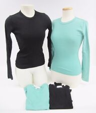 NWOT Rebecca Beeson Black Green Long Sleeve Crew Neck T-Shirt Top XS S