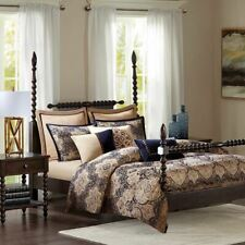 Luxury Gold & Blue Damask Jacquard Woven Comforter Set AND Decorative Pillows