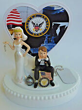 Wedding Cake Topper USN US Navy Themed Humorous Ball Chain Bride Groom Military