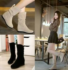 Women Flat Hidden Wedge Heel Slouch Mid Calf Riding Casual Warm Snow Boots Shoes
