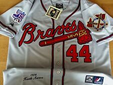 Brand New Majestic GRAY Atlanta Braves #44 Hank Aaron w715HR Patches sewn Jersey