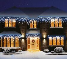 NEW Christmas LED Snowing Icicle Lights White Blue Xmas Tree Indoor Outdoor UK