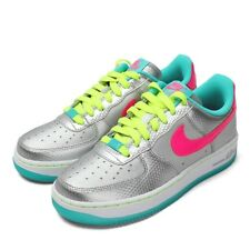 Nike Air Force 1 Running Shoes GS Metallic Silver Pink Volt Jade 314219 011