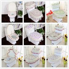 New Bathroom Set Toilet Seat Pad Tank Lid Top Cover Comfy Lace Toilet Floral