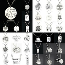 Sister Family Love Heart Pendant Necklace Jewelry Charm Women Men Dad Mom BFF