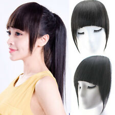 30g Womens Straight Human Hair Bangs Fringe With Temple Clip in Hair Extensions