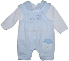 Baby Boys Sky Blue/White 2 Piece Top & Dungaree Set Newborn - 6 Months