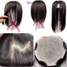New 3Layers Large Area Base Women Remy Human Hair Topper Toupee Hairpiece Wiglet