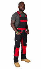Dickies Bib and Brace Dungarees - Red/Black Mens Work Overalls Work Dungarees