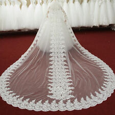 Custom New 3M One Layer Luxury Wedding Veil Lace Applique White Cathedral Length