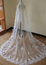 Hot 1L 3M Cathedral Wedding Veil White/Ivory Lace Applique Bridal Veil Free Comb