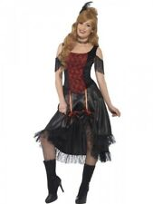 Ladies Saloon Girl Costume Wild Western Womens Adult Fancy Dress Can Can Outfit