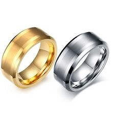 8mm Gold Silver Sand Surface Tungsten Carbide Ring Wedding Band Mens Jewelry