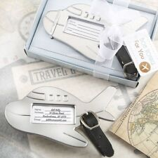 Adorable Silver Metal Airplane Luggage Tag - Wedding Favors - Lots of 20-96