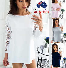 AU Women Hollow Lace Crochet Sheer Long Sleeve Loose Casual Tops T Shirts Blouse