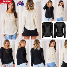 AU Women V Neck Knitted Cardigan Sweater Jumper Bandage Tops Pullover Outerwear