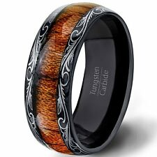 Mens Wedding Band 8mm Black Tungsten Ring Wood Inlay Pattern Dome Comfort Fit