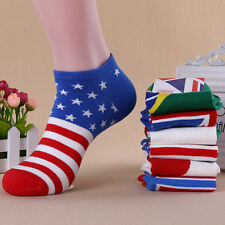 2/4 Pairs Mens National Flag Ankle Socks Low Cut Casual Sport Cotton Socks US