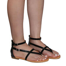 Women's V-strap Ankle Buckle Thong Flat Gladiator sandals Run One Size Small
