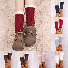 Girl Women Leggings Warmers Lace Leg Winter Socks Crochet Knitted Boot New g29