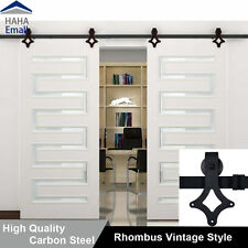 Antique Barn Wood Door Hardware Rustic Sliding Roller Barn Closet Track Kit Set