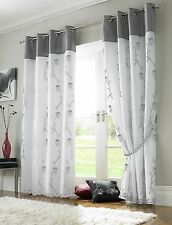 Tahiti Embroidered Voile Fully Lined Eyelet Pair of Curtains Black Lime Grey