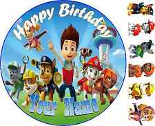 Personalised Paw Patrol Edible Rice/Wafer Paper Cupcake Birthday Cake Toppers