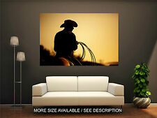 Wall Art Canvas Print Picture Wild West Cowboy Silhouette on Sunset-Unframed