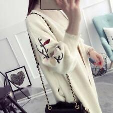 Womens Long Sleeve Loose Knitted Sweater Jumper Embroidery Cardigan Outwear Coat