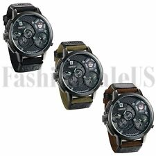 INFANTRY Mens 2 Times Display Quartz Military Analog Army Sport Wrist Watch Gift